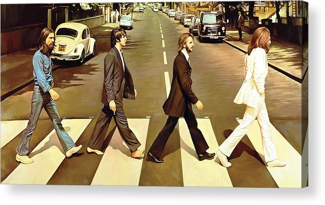 The Beatles Abbey Road Paintings Acrylic Print featuring the painting The Beatles Abbey Road Artwork by Sheraz A