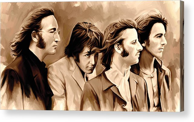 The Beatles Paintings Acrylic Print featuring the painting The Beatles Artwork 4 by Sheraz A