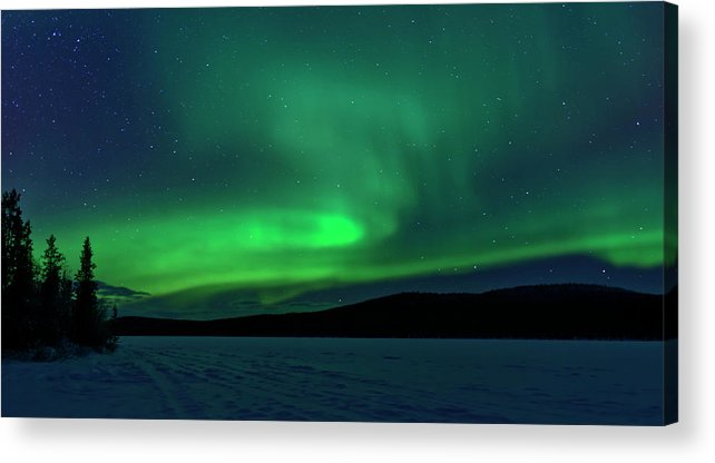 Snow Acrylic Print featuring the photograph The Green Light Of The Aurora by Dave Moorhouse