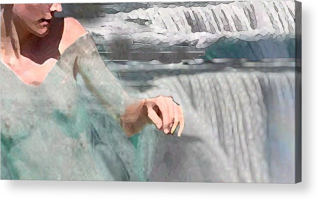 Waterscape Acrylic Print featuring the digital art Cascade by Steve Karol