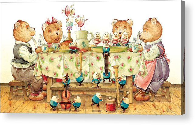 Eggs Easter Acrylic Print featuring the painting Eggs Ballet by Kestutis Kasparavicius