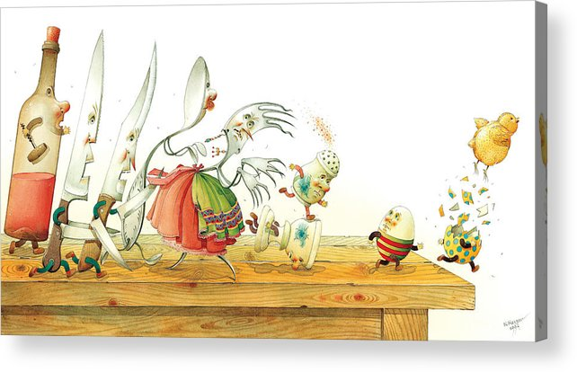 Eggs Easter Liberty Acrylic Print featuring the painting Eggs Liberty by Kestutis Kasparavicius