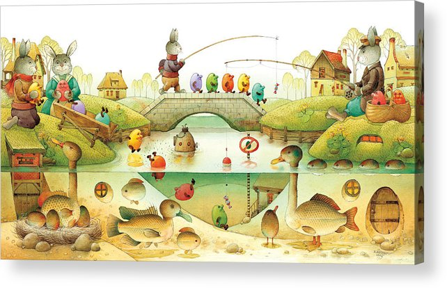 Eggs Easter Rabbit Acrylic Print featuring the painting Eggstown by Kestutis Kasparavicius