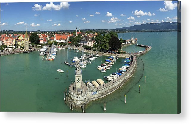 Lindau Acrylic Print featuring the photograph Lindau Bodensee Germany harbor panorama by Matthias Hauser