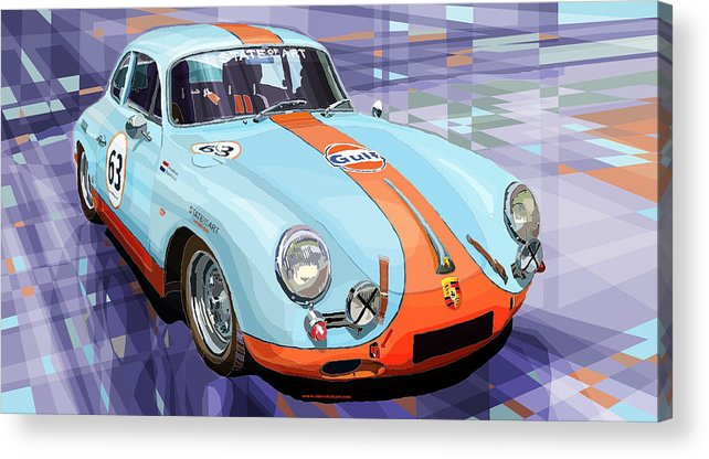 Automotive Acrylic Print featuring the digital art Porsche 356 Gulf by Yuriy Shevchuk