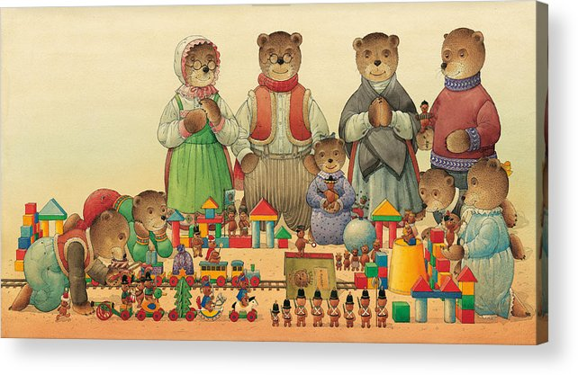 Christmas Greeting Cards Teddybear Acrylic Print featuring the painting Teddybears and Bears Christmas by Kestutis Kasparavicius