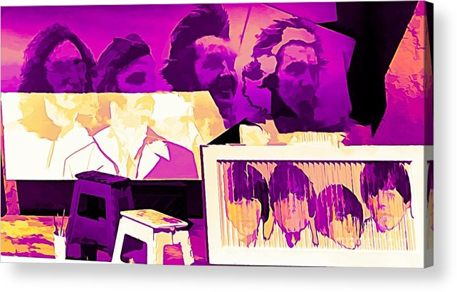 Beatles Acrylic Print featuring the photograph The Beatles Collage Bright Fuchsia Colors by Chuck Kuhn