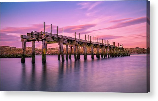 Old Bridge Acrylic Print featuring the photograph The Old Bridge at Sunset by Roy McPeak