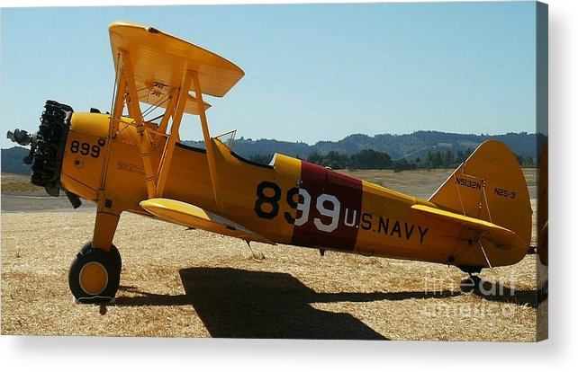 Diane Berry Acrylic Print featuring the painting US Navy biplane by Diane E Berry