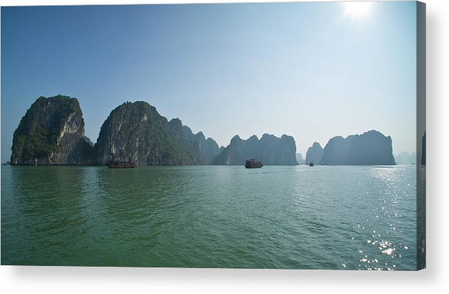 Scenics Acrylic Print featuring the photograph Ha Long Bay by By Thomas Gasienica