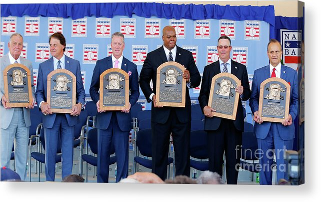American League Baseball Acrylic Print featuring the photograph 2014 Baseball Hall Of Fame Induction by Jim Mcisaac