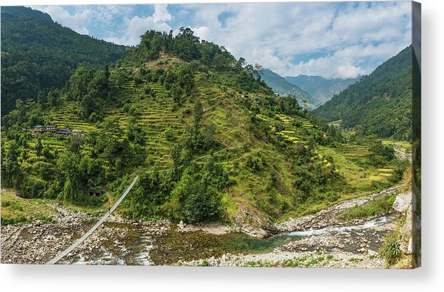 Scenics Acrylic Print featuring the photograph Himalya Hills Rope Bridge Canyon by Fotovoyager