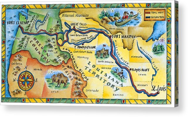 Watercolor Painting Acrylic Print featuring the digital art Lewis & Clark Expedition Map by Jennifer Thermes
