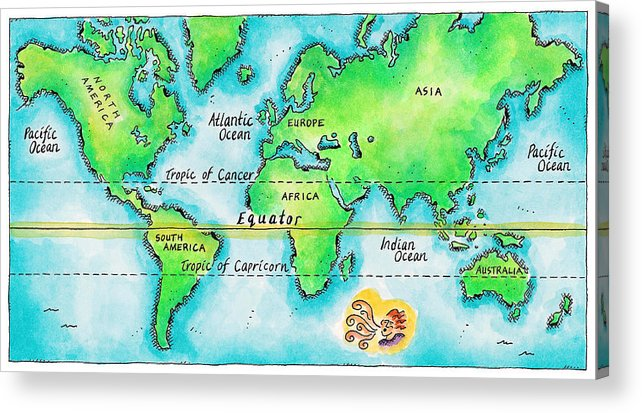 Watercolor Painting Acrylic Print featuring the digital art Map Of The World & Equator by Jennifer Thermes