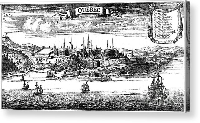 Engraving Acrylic Print featuring the drawing Old View Of Quebec, 1730 C1880 by Print Collector