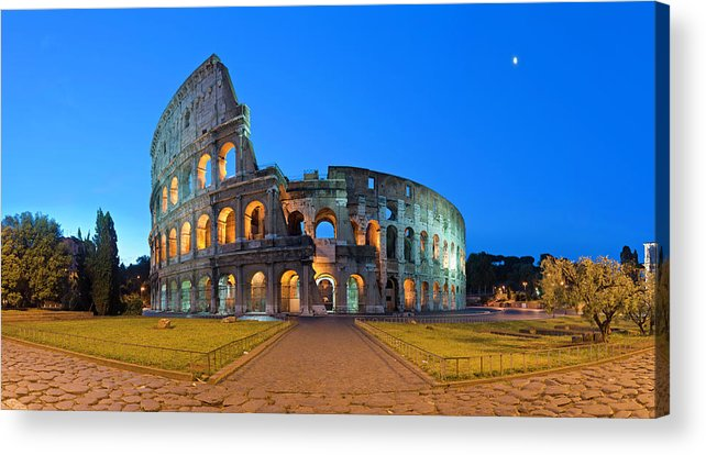 Arch Acrylic Print featuring the photograph Rome Coliseum Ancient Roman by Fotovoyager