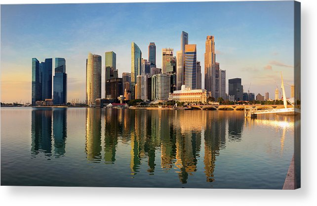 Financial District Acrylic Print featuring the photograph Singapore Financial Skyline, Singapore by Travelpix Ltd