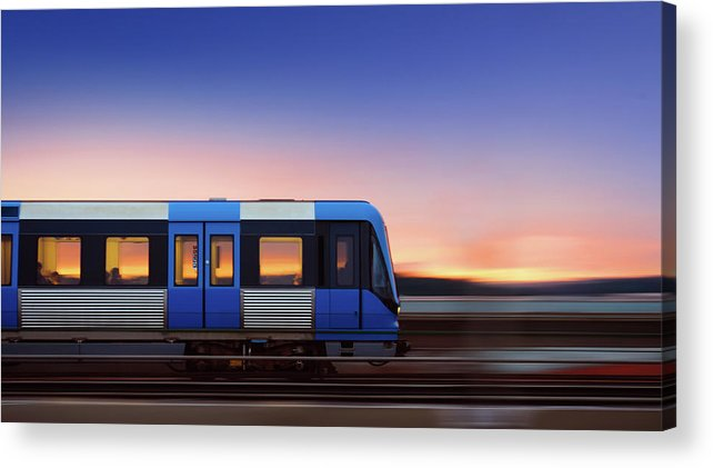 Train Acrylic Print featuring the photograph Subway Train In Profile Crossing Bridge by Olaser