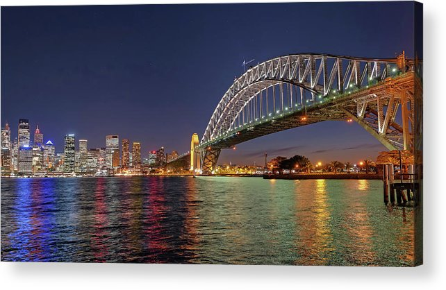 Built Structure Acrylic Print featuring the photograph Sydney Harbor Bridge At Night, Sydney by Marco Simoni