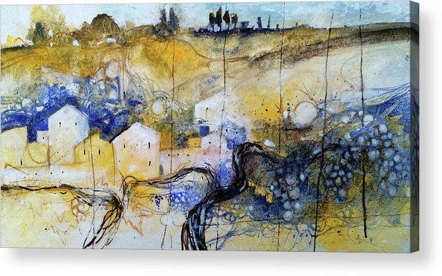 Landscape Acrylic Print featuring the painting Harvest time by Alessandro Andreuccetti