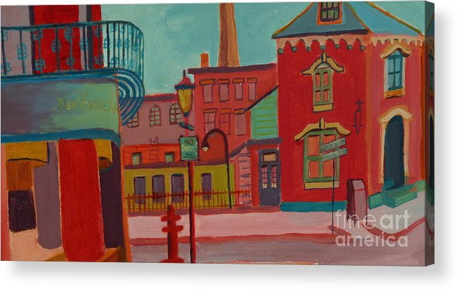 Cityscape Acrylic Print featuring the painting Middle Street in Lowell MA by Debra Bretton Robinson