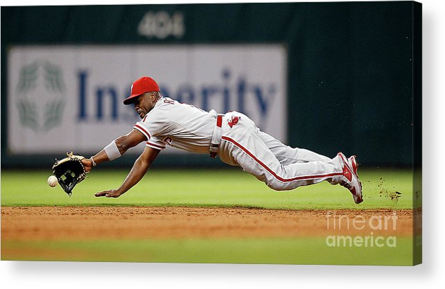 Sports Ball Acrylic Print featuring the photograph Brett Myers and Jimmy Rollins by Bob Levey