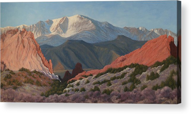 Pikes Peak Acrylic Print featuring the painting 120402-1836 Pikes Peak from the Garden of the Gods by Kenneth Shanika