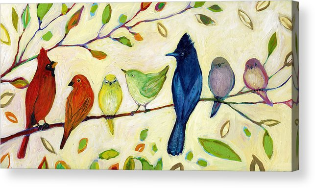 Bird Acrylic Print featuring the painting A Flock of Many Colors by Jennifer Lommers