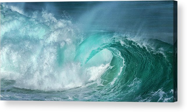 Panoramic Acrylic Print featuring the photograph Barrel In The Surf by Simon Phelps Photography