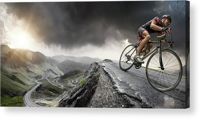 Sports Helmet Acrylic Print featuring the photograph Cyclist Climbs To The Top by Peepo