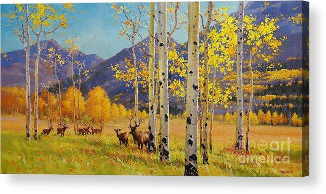 Elk Herd Acrylic Print featuring the painting Elk Herd In Aspen Grove by Gary Kim