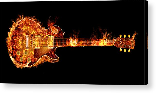 Glow Acrylic Print featuring the photograph Gibson Les Paul Guitar on Fire by Robert Gardiner