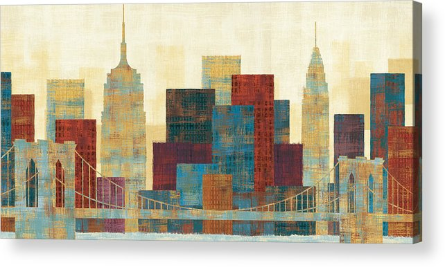 Blue Acrylic Print featuring the painting Majestic City by Michael Mullan