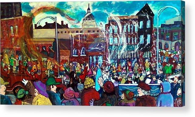 St. Paul Winter Carnival Acrylic Print featuring the painting St Paul Winter Carnival Love Parade by Richard Hubal