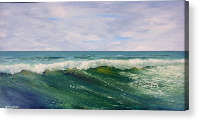 Ocean Acrylic Print featuring the painting Wavecrest by Ken Ahlering