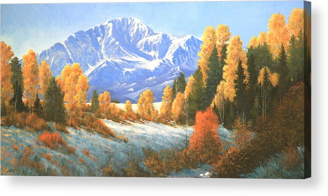 Pikes Peak Acrylic Print featuring the painting Autumn's Song - Pikes Peak 111119-1836 by Kenneth Shanika