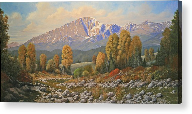 Pikes Peak Acrylic Print featuring the painting The Color of August - Pike Peak 111121-3060 by Kenneth Shanika