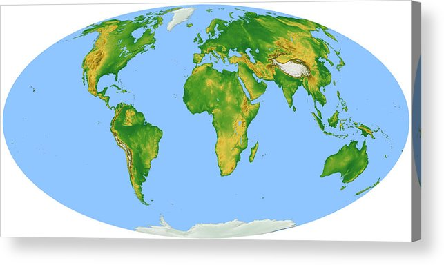 Horizontal Acrylic Print featuring the digital art Vegetation Map -- Oval Projection by Cartesia