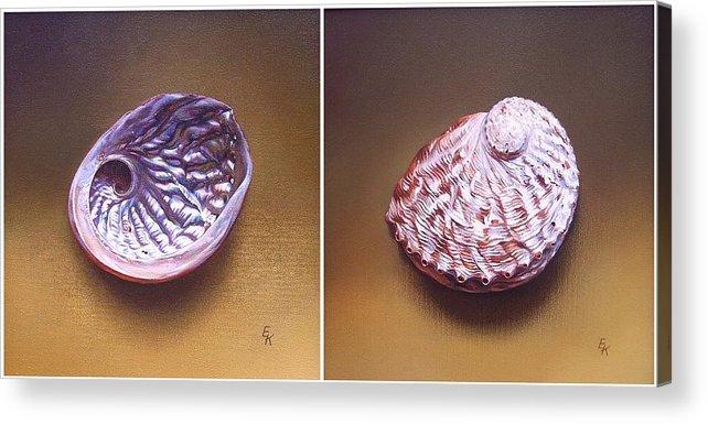 Shell Acrylic Print featuring the painting Abalone Shell by Elena Kolotusha