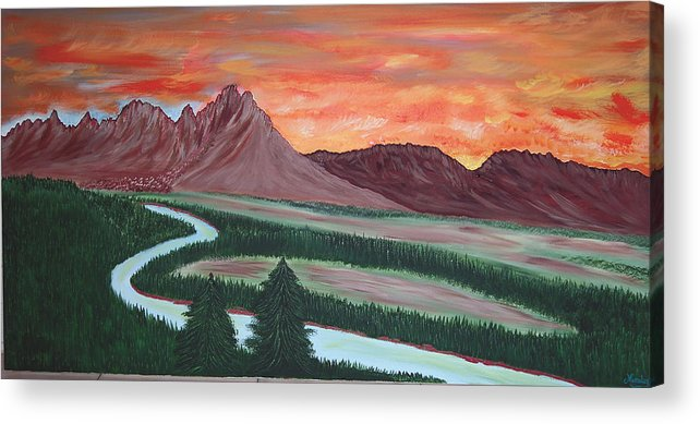 Landscape Acrylic Print featuring the painting American Valley by Marco Morales