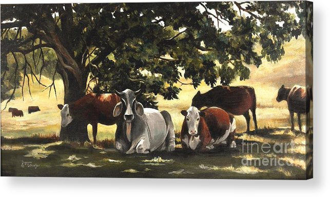 Cows In Pasture Acrylic Print featuring the painting Brahma's Mamas by Suzanne Schaefer