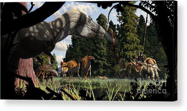 Paleoart Acrylic Print featuring the digital art Campanian Montana landscape by Julius Csotonyi