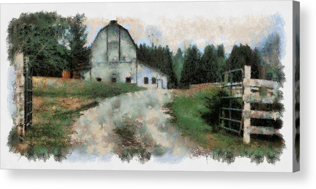 Barn Acrylic Print featuring the digital art Gate is Open by Robert Bissett