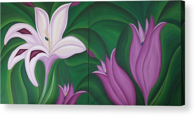 Marinella Owens Acrylic Print featuring the painting Gladiolus Carneus by Marinella Owens
