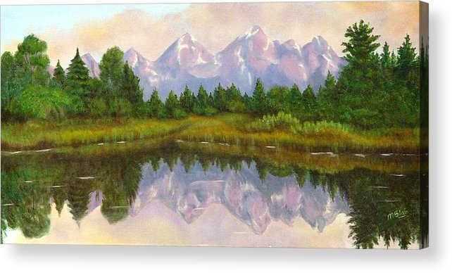 Landscape Acrylic Print featuring the painting Grand Tetons by Merle Blair