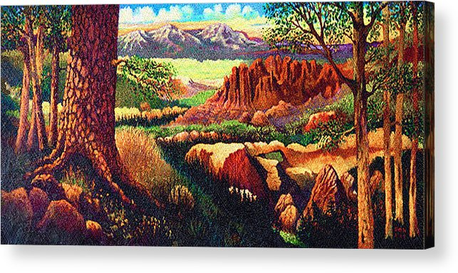 Fantasy Hobbits Rocks Trees Texas Acrylic Print featuring the painting Hobbit Land by Donn Kay