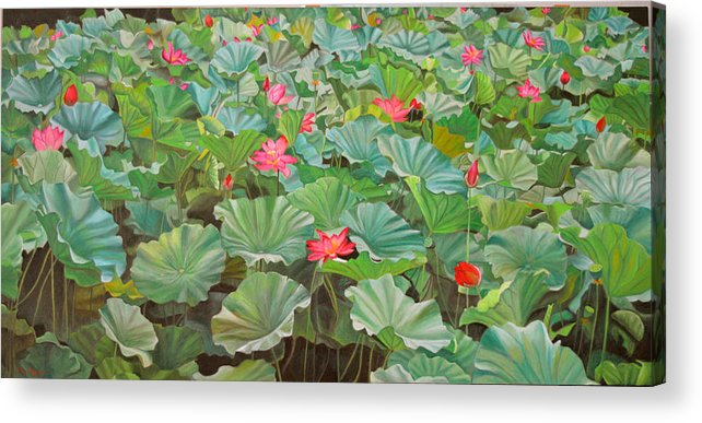 Water Lily Acrylic Print featuring the painting July 4th by Thu Nguyen