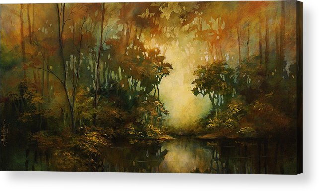 Abstract Art Acrylic Print featuring the painting Landscape 3 by Michael Lang