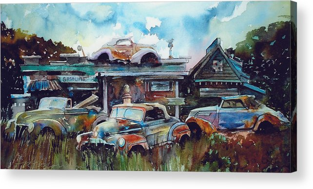 Fords Acrylic Print featuring the painting Lytton Station by Ron Morrison