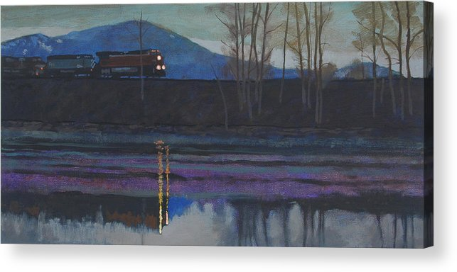 Train Acrylic Print featuring the painting Night Train by Robert Bissett